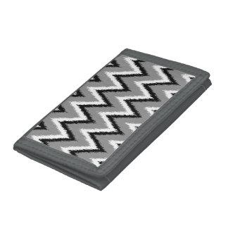 Ikat Chevron Stripes - Grey / Gray, Black & White Trifold Wallet