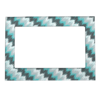 Ikat Chevron Zig Zags Green Gray Elegant Tribal Magnetic Picture Frame