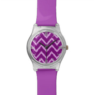 Ikat Chevrons - Amethyst purple and light orchid Watch