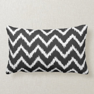 Ikat Chevrons - Black and white Lumbar Cushion