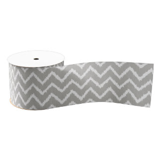 Ikat Chevrons - Silver grey and white Grosgrain Ribbon