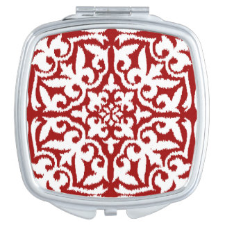 Ikat damask pattern - Dark Red and White Compact Mirror