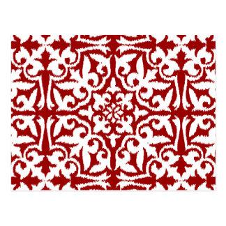 Ikat damask pattern - Dark Red and White Postcard