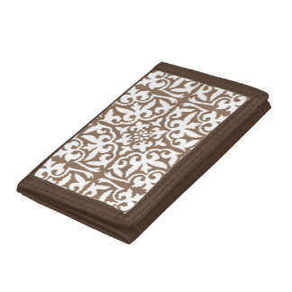 Ikat damask pattern - Taupe Tan and White Trifold Wallet