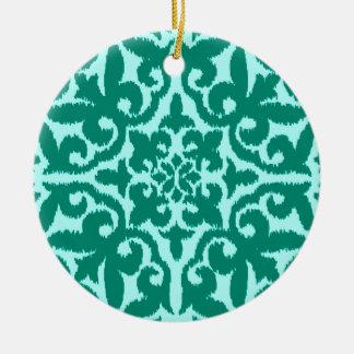 Ikat damask pattern - Turquoise and Aqua Christmas Ornament