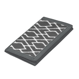 Ikat diamonds - Charcoal grey and white Trifold Wallet