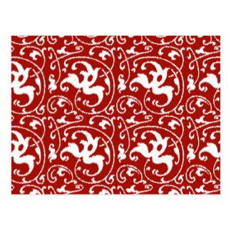 Ikat Floral Damask - Dark Red and White Postcard