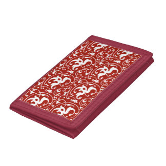 Ikat Floral Damask - Dark Red and White Trifold Wallet