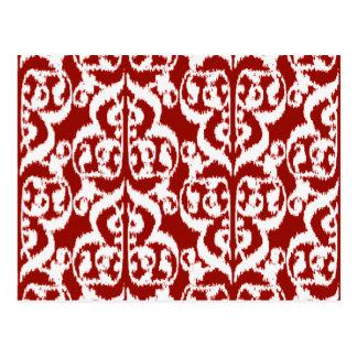 Ikat Moorish Damask - dark red and white Postcard
