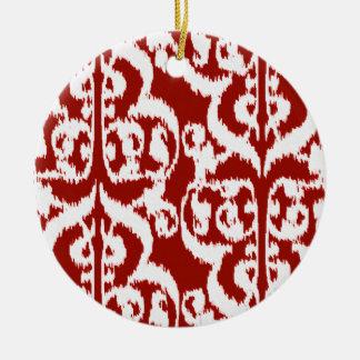 Ikat Moorish Damask - dark red and white Round Ceramic Decoration