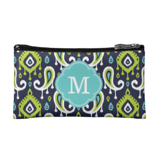 Ikat Paisley Custom Monogram Makeup Bag