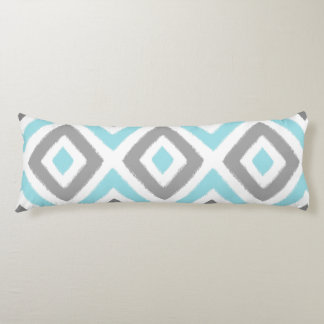 Ikat Patern Aqua and Grey Diamond Body Cushion