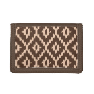Ikat pattern - Chocolate and pale peach Tri-fold Wallet