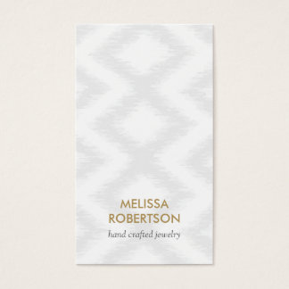 Ikat Pattern in Light Gray for Jewelry Design Business Card