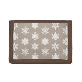 Ikat Snowflakes - Taupe tan and white Tri-fold Wallet