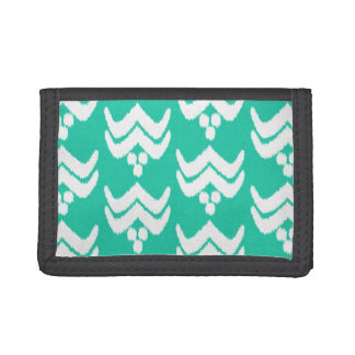 Ikat stylized floral - turquoise and white tri-fold wallets