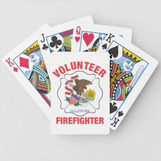 Illinois Flag Volunteer Firefighter Cross Bicycle Playing Cards