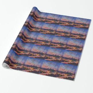 Illuminated Berlin Skyline at Dusk Wrapping Paper