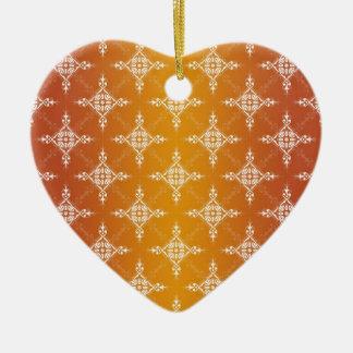 Illuminated Orange and Yellow Gold Damask Ceramic Heart Decoration