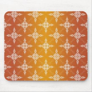 Illuminated Orange and Yellow Gold Damask Mouse Pad