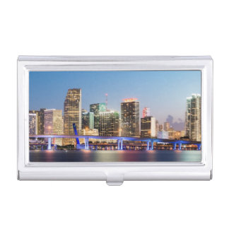 Illuminated skyline of downtown Miami at dusk Business Card Holder