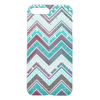Illusion Turquoise, Mint and White Chevron pattern iPhone 8 Plus/7 Plus Case