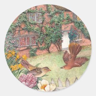 Illustrated cotswolds cottage garden label round sticker