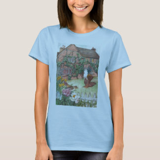 Illustrated english cottage garden with birds T-Shirt