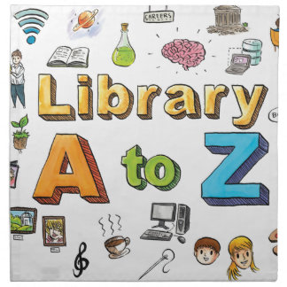 Illustrated Library A-Z Logo Napkins