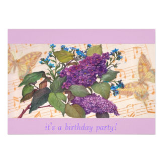 illustrated lilac  BIRTHDAY INVITATION