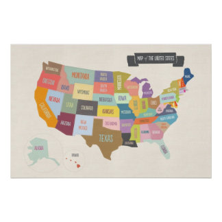"""Illustrated Map of America 24 x 36"""" Wall Poster"""