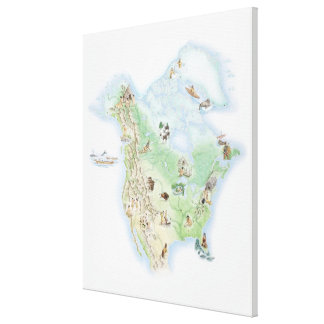 Illustrated map of North America Canvas Print