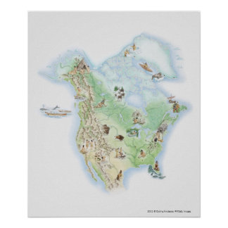 Illustrated map of North America Print