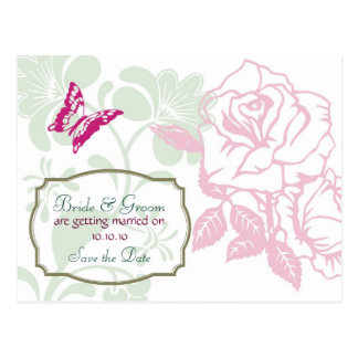 Illustrated Roses & Butterfly Spring Save the Date Postcard