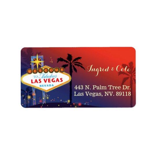 Illustrated Twilight Las Vegas Wedding Label