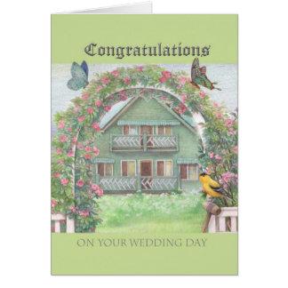 illustrated wedding congratulations cottage garden card