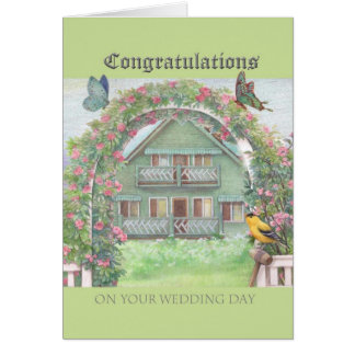 illustrated wedding congratulations cottage garden greeting card