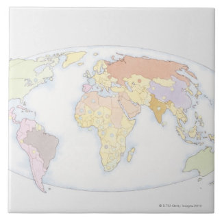 Illustrated World Map 3 Tile
