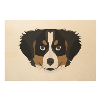 Illustration Bernese Mountain Dog Wood Print