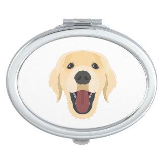 Illustration dogs face Golden Retriver Mirror For Makeup