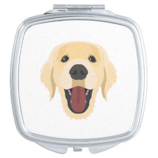 Illustration dogs face Golden Retriver Vanity Mirror