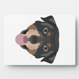 Illustration dogs face Rottweiler Plaque