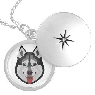 Illustration dogs face Siberian Husky Silver Plated Necklace