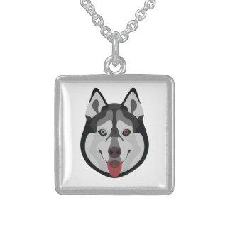 Illustration dogs face Siberian Husky Sterling Silver Necklace