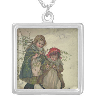 Illustration from Christmas Tree Fairy, pub. 1886 Silver Plated Necklace