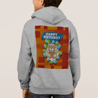 Illustration Happy Birthday teddy with ballons Hoodie