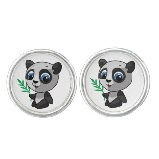 Illustration of a cute wild panda with bamboo cufflinks