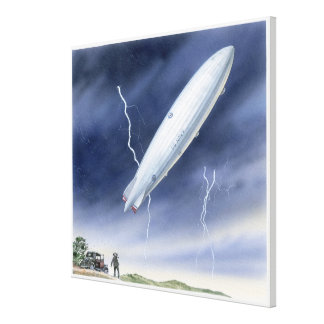 Illustration of airship being struck by lightning canvas print
