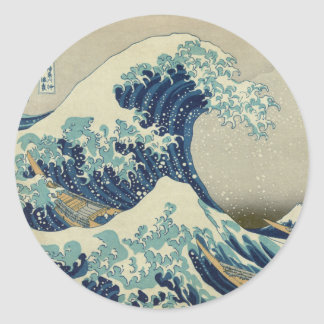 Illustration of blue japanese wave round sticker
