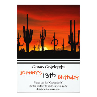 Illustration of cactus tree when the sunset 13 cm x 18 cm invitation card